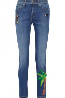 Mira Mikati palm-tree embroidered skinny jeans