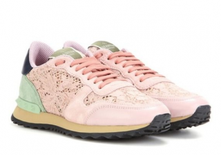 Valentino Rockrunner corded lace, suede and leather sneakers