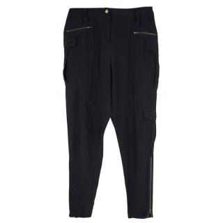 Edun Black Silk Zip Detail Joggers