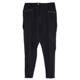 Edun Black Silk Zip Detail Joggers