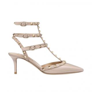 Valentino Rockstud Caged Pump 65mm in Poudre