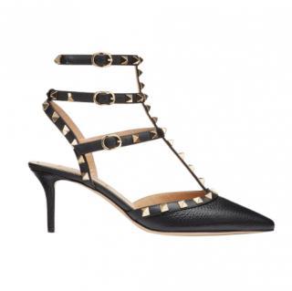 Valentino Rockstud Grainy Calfskin Ankle Strap Pump 65 mm