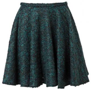 Kenzo green boucle tweed mini skirt