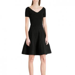 Sandro Black Scalloped Stretch-knit Mini Dress