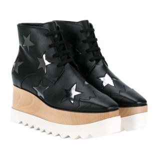 Stella McCartney Black Elyse Star 75 Platform Ankle Boots