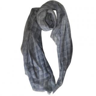 Chanel Blue-Grey Fine Cashmere CC Scarf