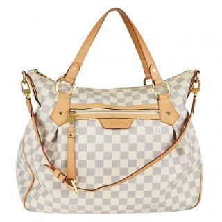 Louis Vuitton Damier Azur Canvas Evora MM Bag W/ Shoulder Strap & Brown Leather Trim New Sale