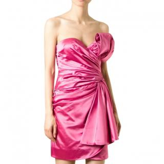 Moschino Couture Pink Strapless Wrap-Effect Dress