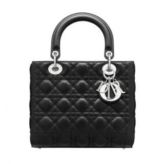 Dior Black Matte Cannage Leather Medium Lady Dior Bag