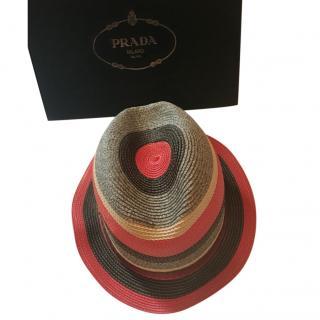 Prada Striped Cotton Folding Hat with 100% Silk Trim