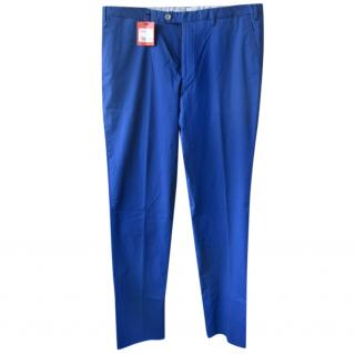 isaia Blue Cotton Chinos
