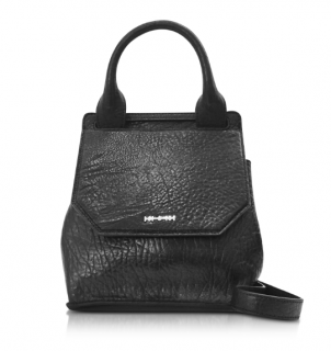 McQ by Alexander McQueen Mini Ruin pebbled black leather bag