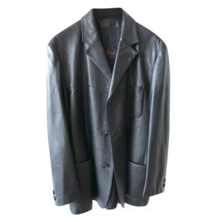 Brioni Men's Tailored Black Leather Jacket