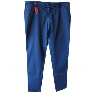 Isaia Men's Tailored Blue Cotton Chinos