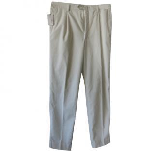 Brioni Men's Natural White Corduroy Trousers
