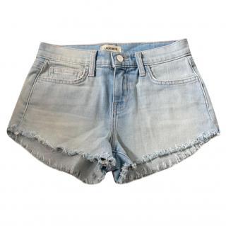 L'Agence Pale Washed Whiskered Mini Shorts