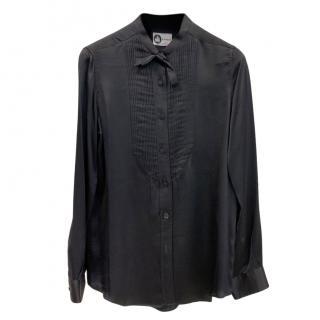 Lanvin Black Silk Pleated Vintage Blouse