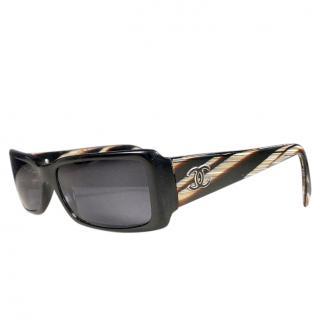 Chanel Black Vintage Rectangular Sunglasses
