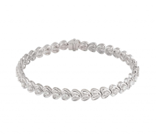 Bespoke 18k White Gold Diamond Line Bracelet