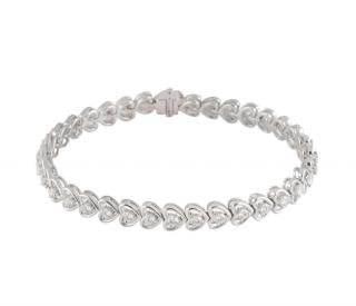 Bespoke 18k White Gold Diamond Line Bracelet