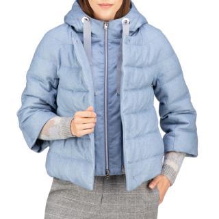 Herno Resort Blue Cashmere & Silk Puffer Coat