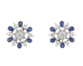 Bespoke White Gold Diamond and Sapphire Earrings