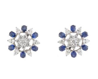 Bespoke White Gold Diamond and Sapphire Earrings