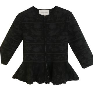 Carolina Herrera Black & Silver Knit Jacket