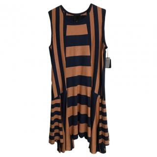 Anna Sui Navy & Burnt Orange Metallic Knit Mini Dress