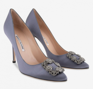 Manolo Blahnik Blue-Grey Satin Hangisi Pumps
