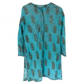Juliet Dunn turquoise beach kaftan cover up dress