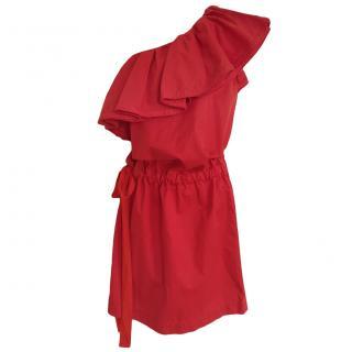 Lanvin red one shoulder dress