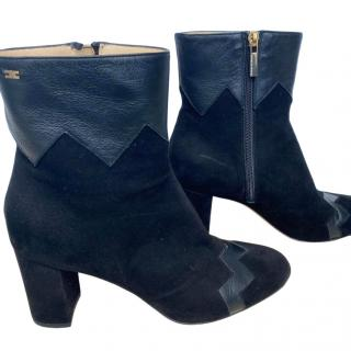 Elizabetta Franchi black suede and leather trimmed ankle boots
