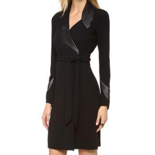 Diane Von Furstenberg Leather Trim Wrap Dress