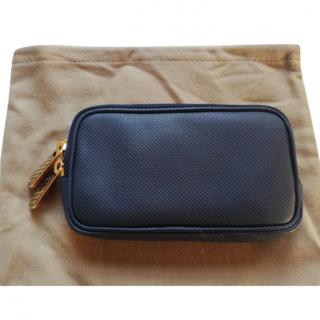 Bottega Veneta blue leather zip around wallet