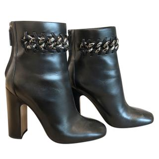 Valentino large chain detail black leather ankle boots