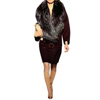 Prada Coat 100% Virgin Wool. Removable fur collar. Belt on Hips.  Stunning.