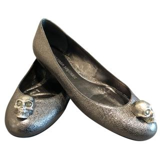Alexander McQueen Silver Ballerina Flats