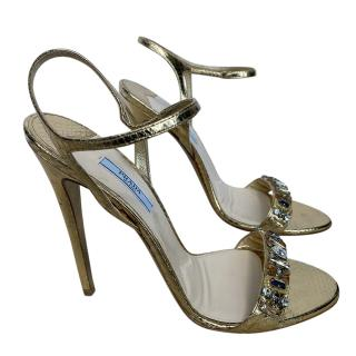 Prada embellished gold sandals