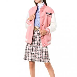 Miu Miu oversized love embroidered virgin wool bomber jacket