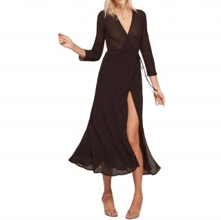 Reformation Black Wrap Midi Dress