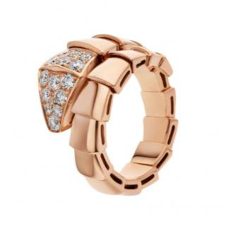 Bvlgari Rose Gold Serpenti Coiled Ring with Diamonds