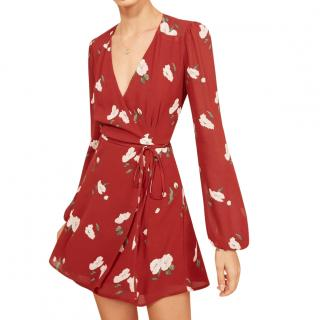 Reformation Red Floral Printed Mini Dress