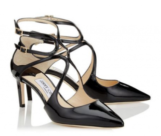 Jimmy Choo Black Patent Lancer 65 Sandals