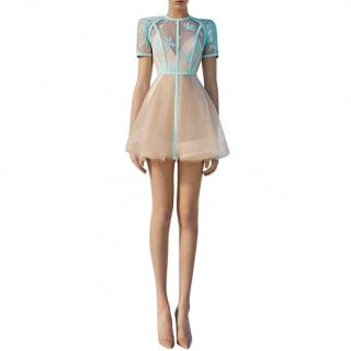 Alex Perry Sky Blue & Nude Lace Tulle Mini Dress