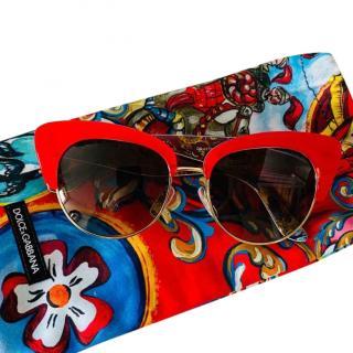 Dolce & Gabbana Red Cat-Eye Majolica Sunglasses