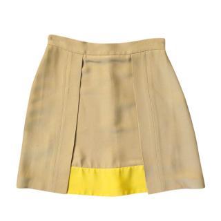 Prada Camel Silk Blend Yellow Panelled Mini Skirt