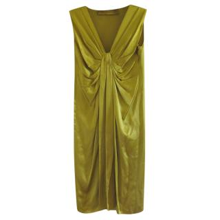 Lanvin Gold Silk Draped Dress