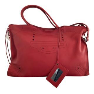 Balenciaga Red XL Blackout City Bag