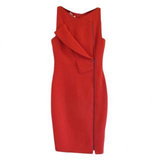 Antonio Berardi Red Wool Crepe Zip Front Dress